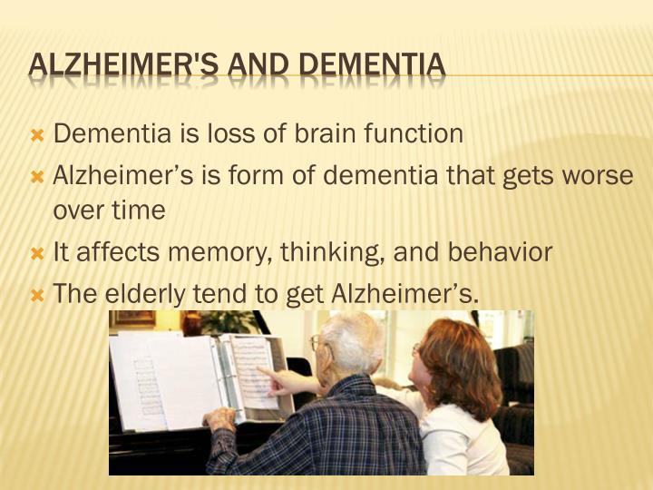 Dementia is loss of brain function
