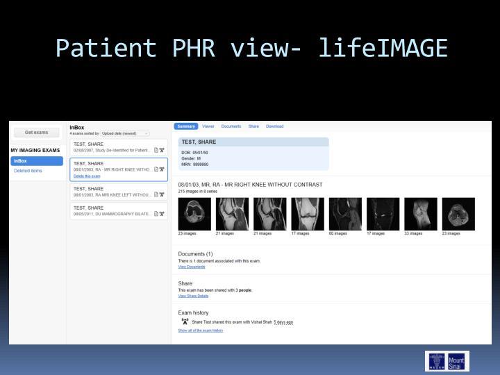 Patient PHR view- lifeIMAGE