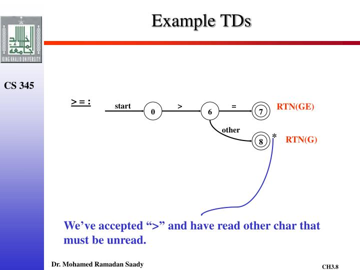 Example TDs
