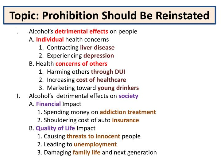 Topic: Prohibition Should Be Reinstated