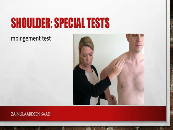 Shoulder: special tests