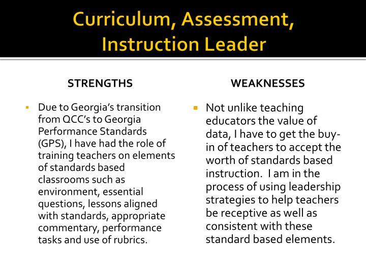 Curriculum, Assessment, Instruction Leader