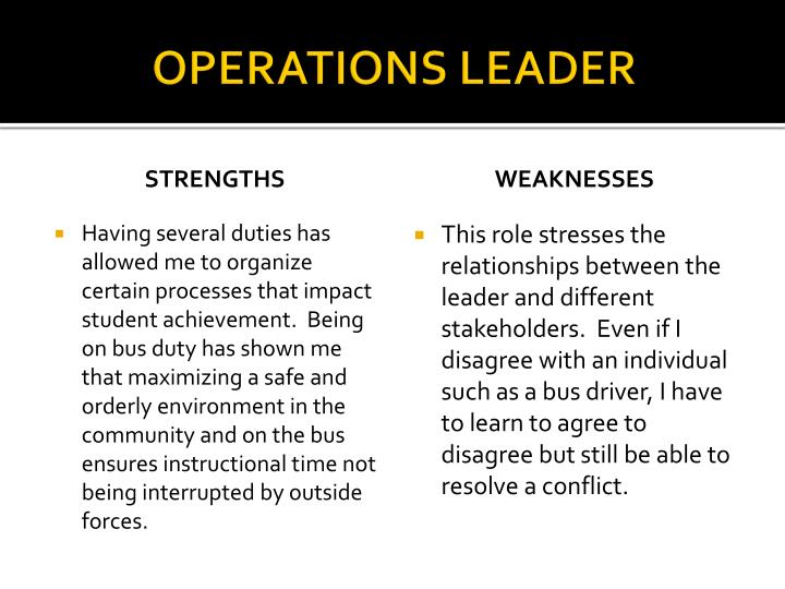 OPERATIONS LEADER