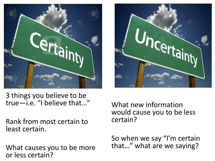 What new information would cause you to be less certain?