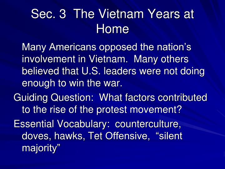 Sec. 3  The Vietnam Years at Home