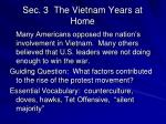 sec 3 the vietnam years at home