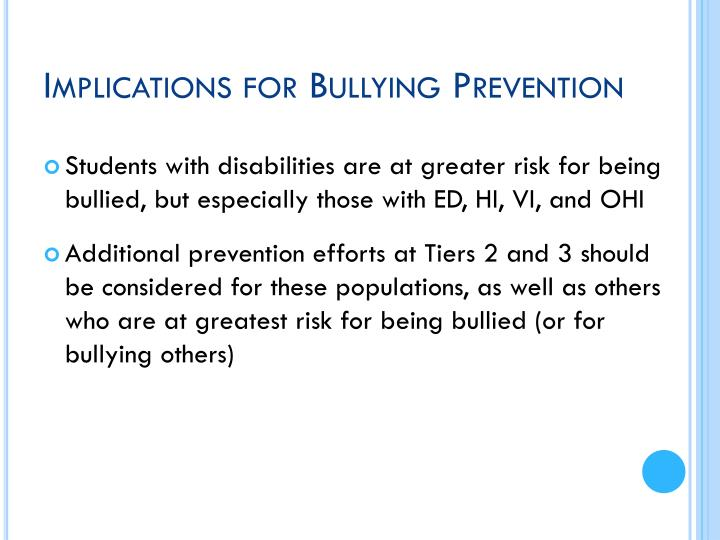 Implications for Bullying Prevention