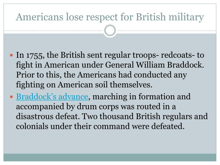 Americans lose respect for British military