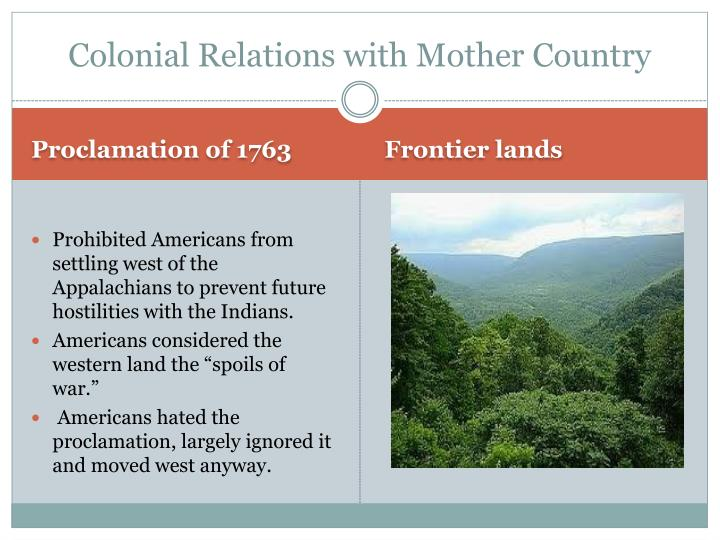 Colonial Relations with Mother Country