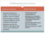 conflict grows out of victory
