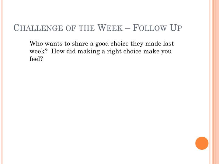 Challenge of the Week – Follow Up