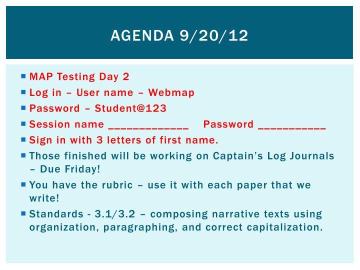 Agenda 9/20/12
