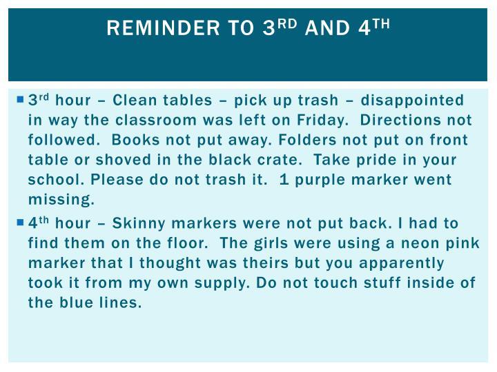 Reminder to 3