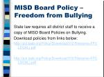 misd board policy freedom from bullying