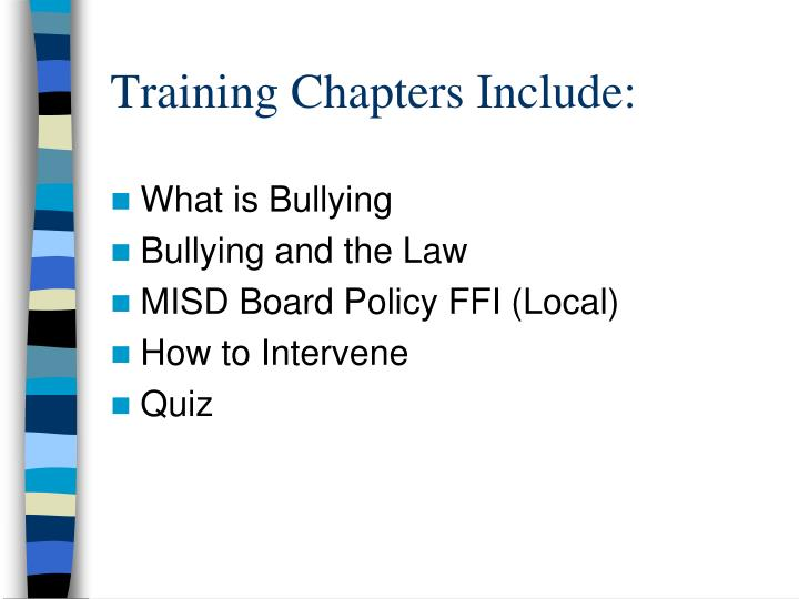 Training chapters include
