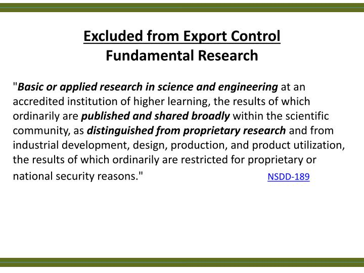 Excluded from Export Control