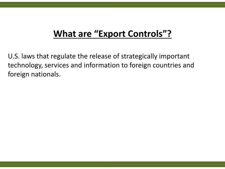 """What are """"Export Controls""""?"""