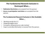 the fundamental research exclusion is destroyed when