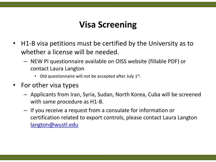 Visa Screening