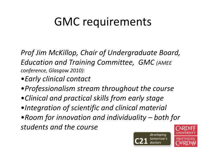 GMC requirements