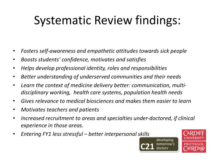 Systematic Review findings: