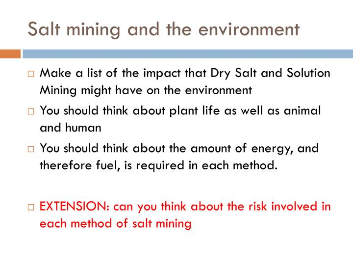 Salt mining and the environment