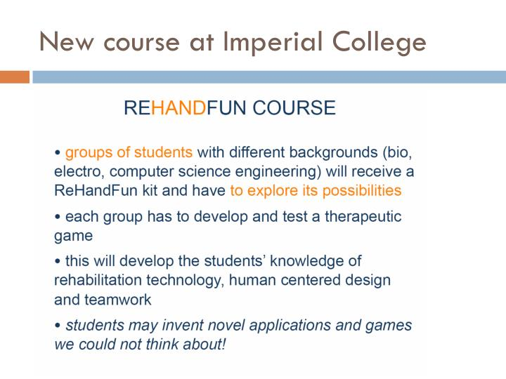 New course at Imperial College