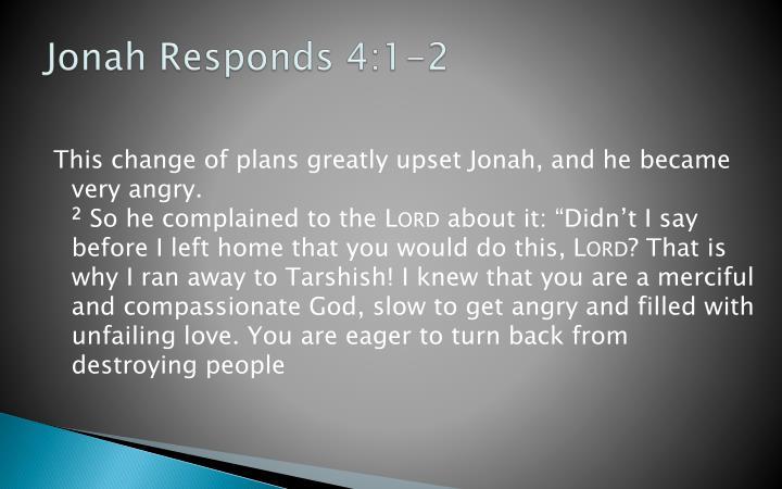 Jonah Responds 4:1-2