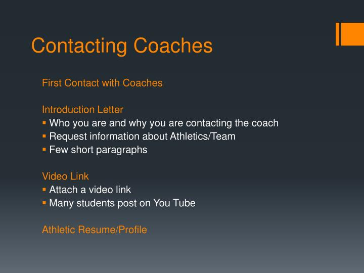 Contacting Coaches