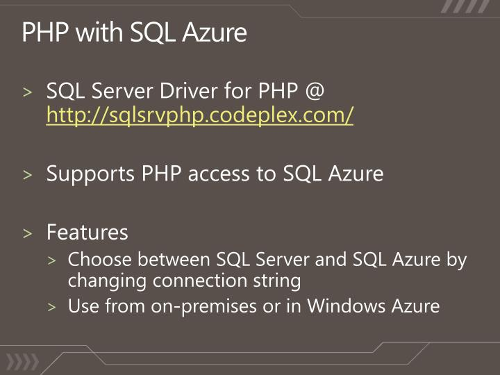PHP with SQL Azure