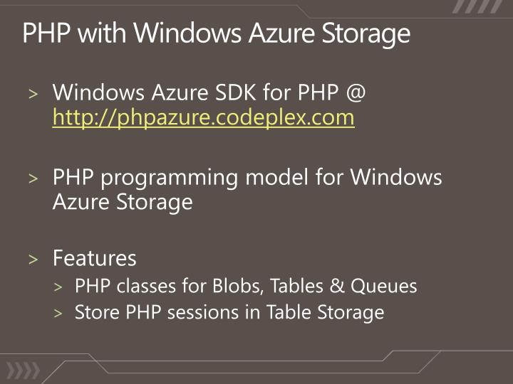 Windows Azure SDK for PHP @