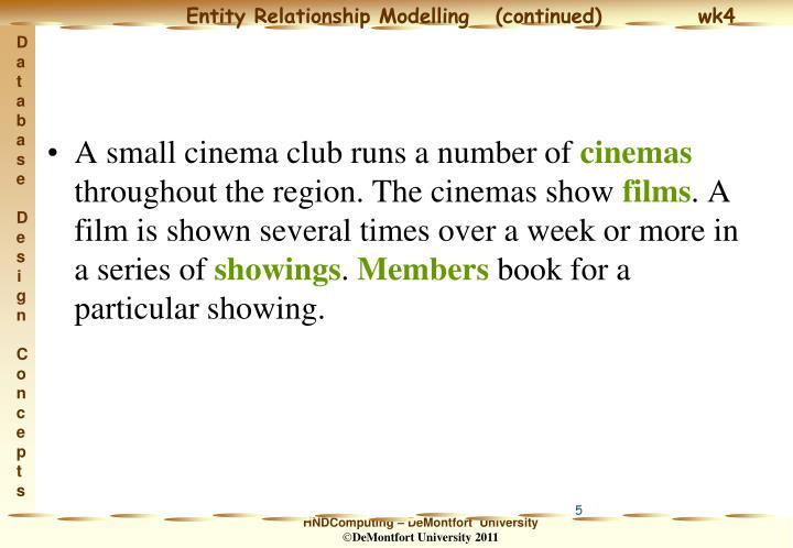 A small cinema club runs a number of