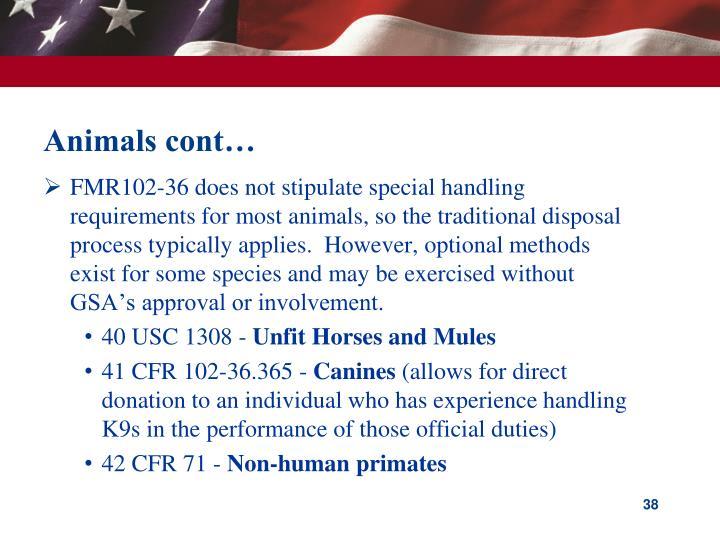 Animals cont…