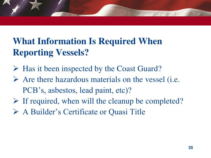 What Information Is Required When Reporting Vessels?
