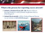 what is the process for reporting excess aircraft