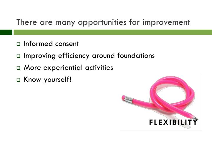 There are many opportunities for improvement
