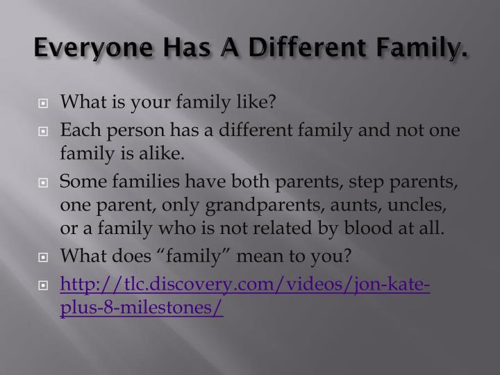 Everyone Has A Different Family.