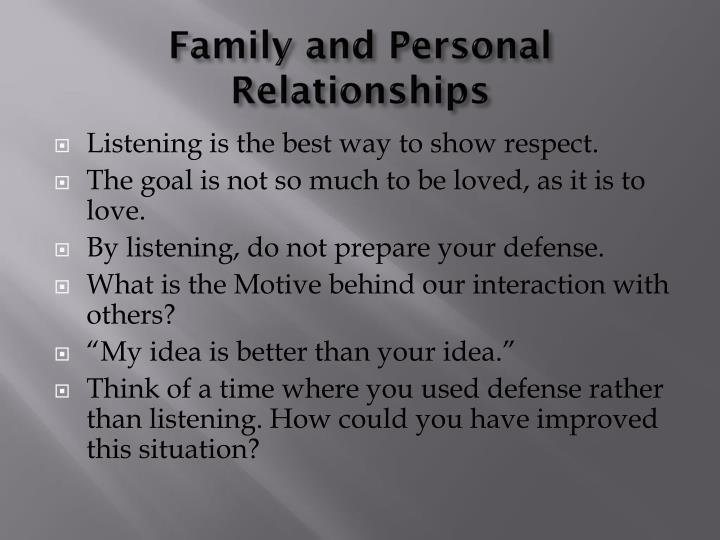 Family and Personal Relationships