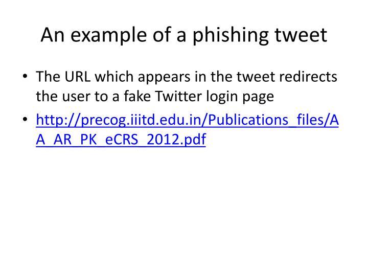 An example of a phishing tweet