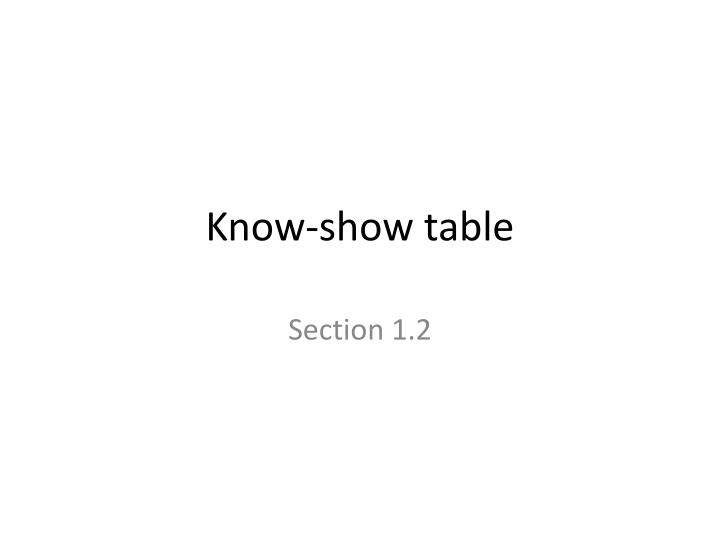 Know-show table