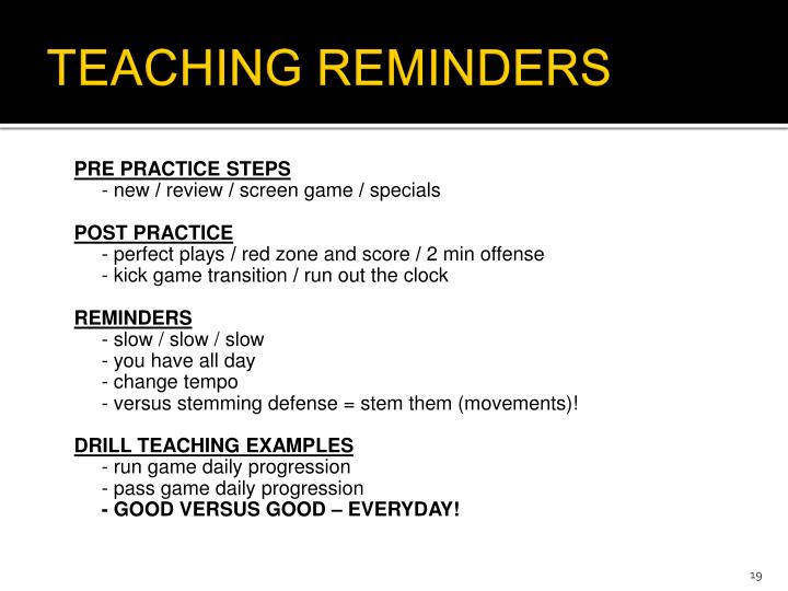 TEACHING REMINDERS