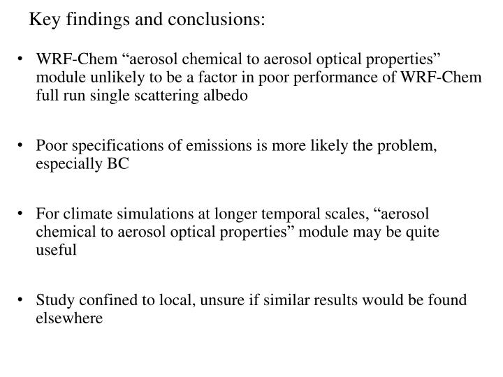 Key findings and conclusions: