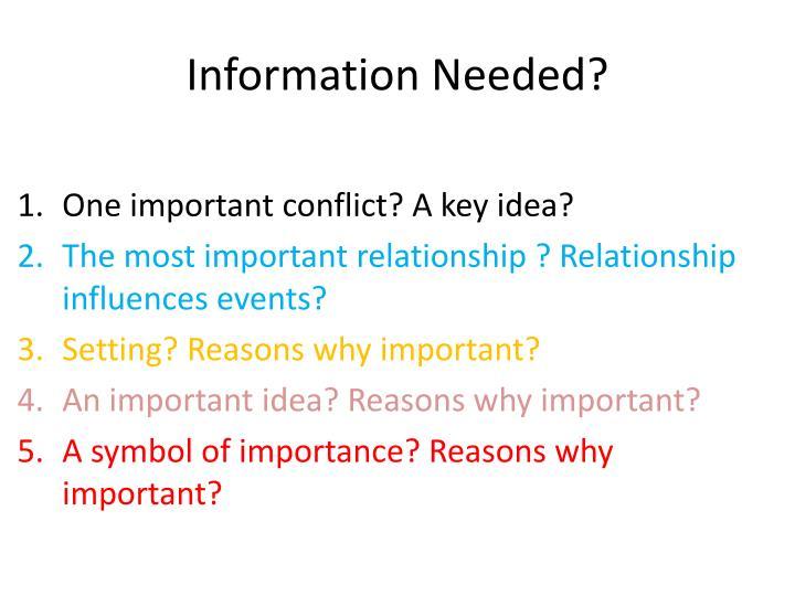 Information Needed?