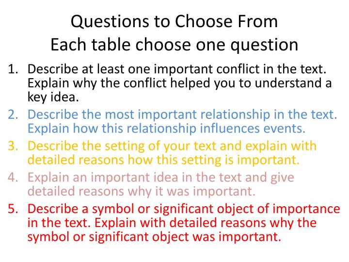 Questions to Choose From