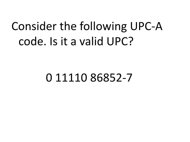 Consider the following UPC-A code.