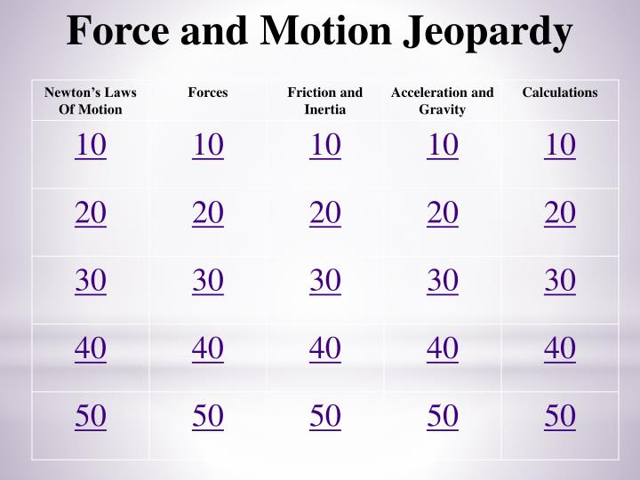 Force and Motion Jeopardy