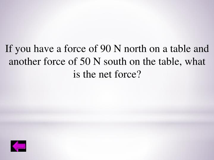 If you have a force of 90 N north on a table and
