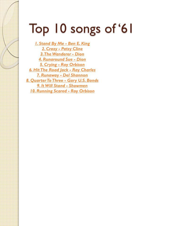 Top 10 songs of '61