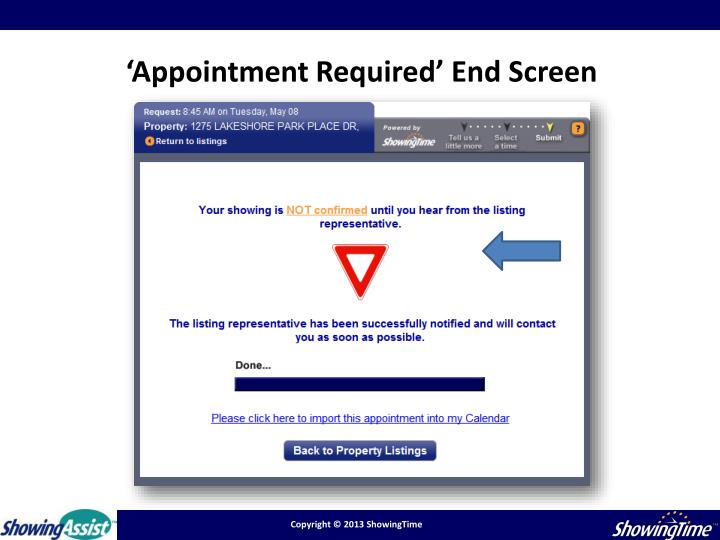 'Appointment Required' End Screen