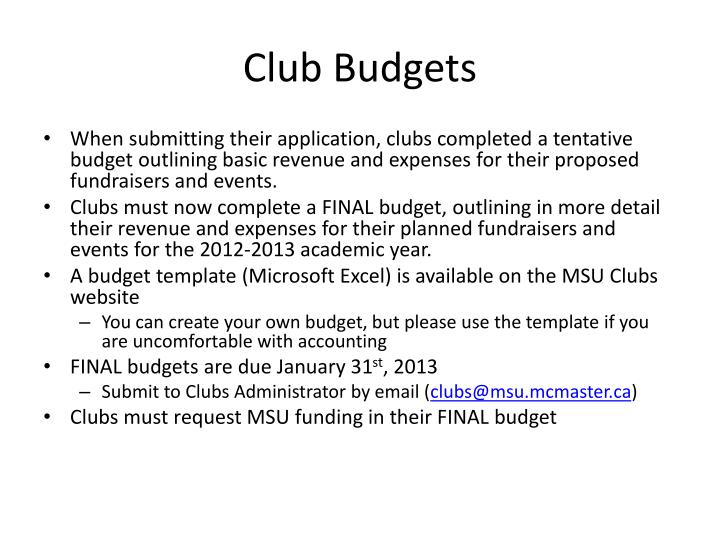Club Budgets